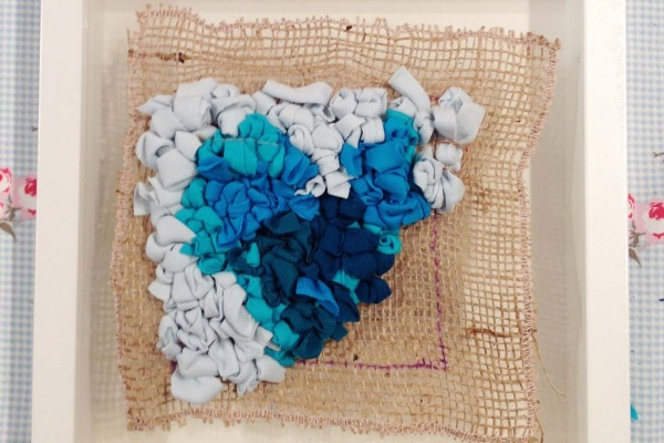 Blue Heart Rag Rug