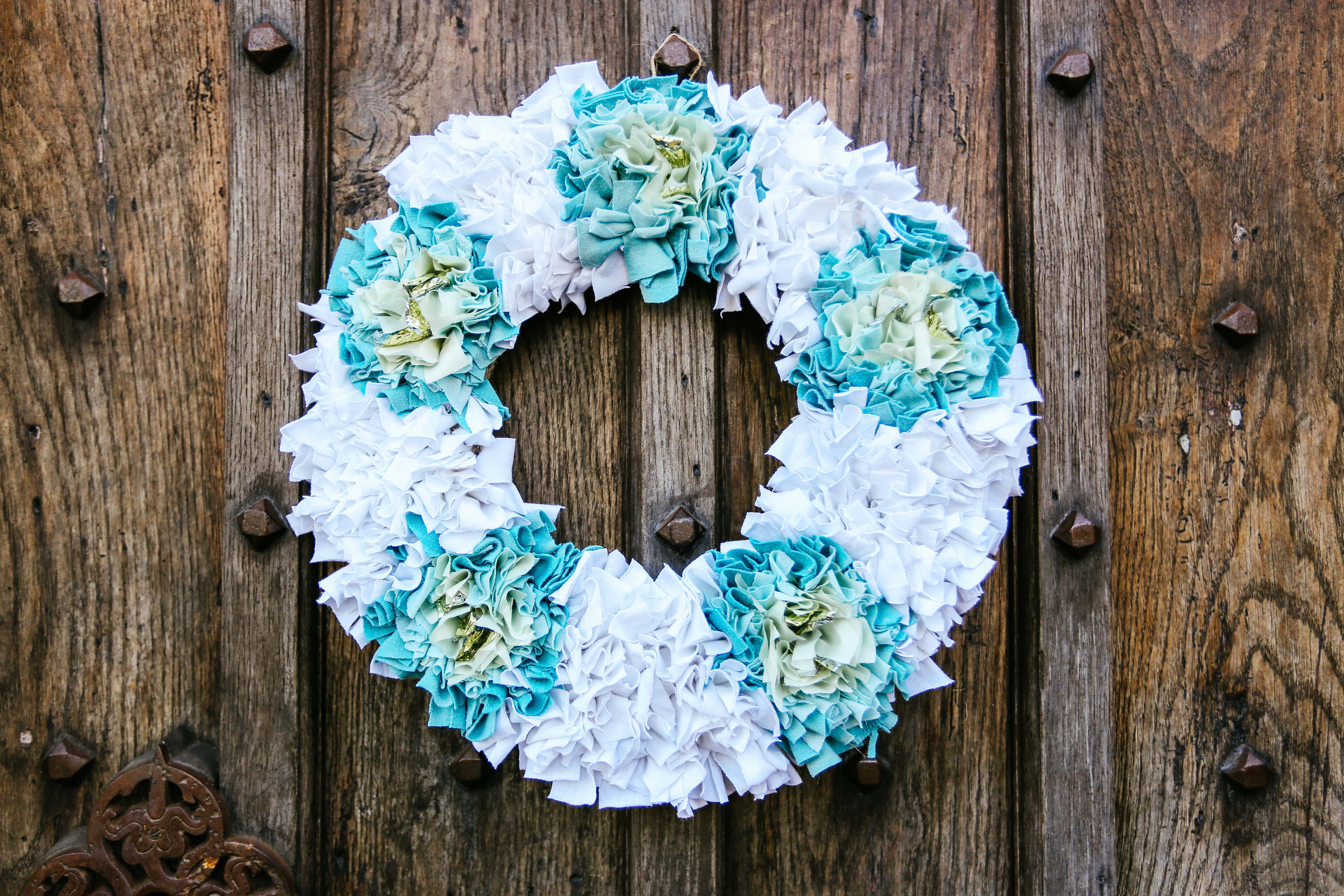 White Rag Rug Wreath
