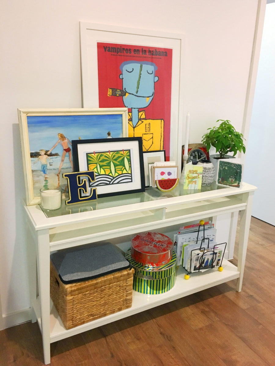 Sideboard with lots of art