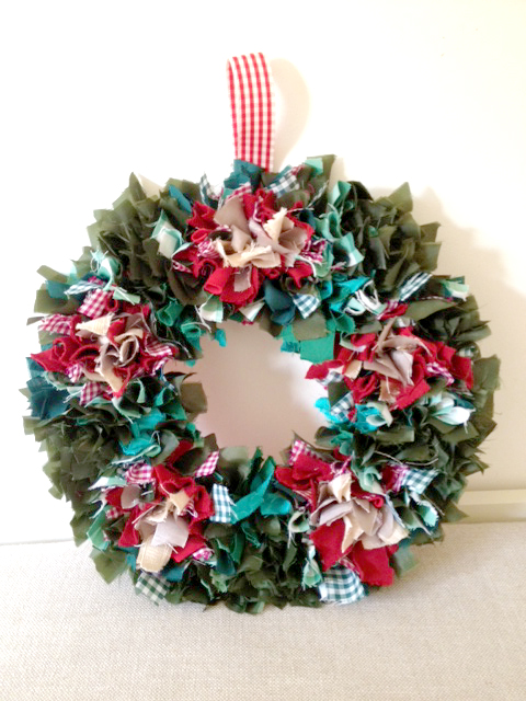 Handmade Rag rug Christmas wreath
