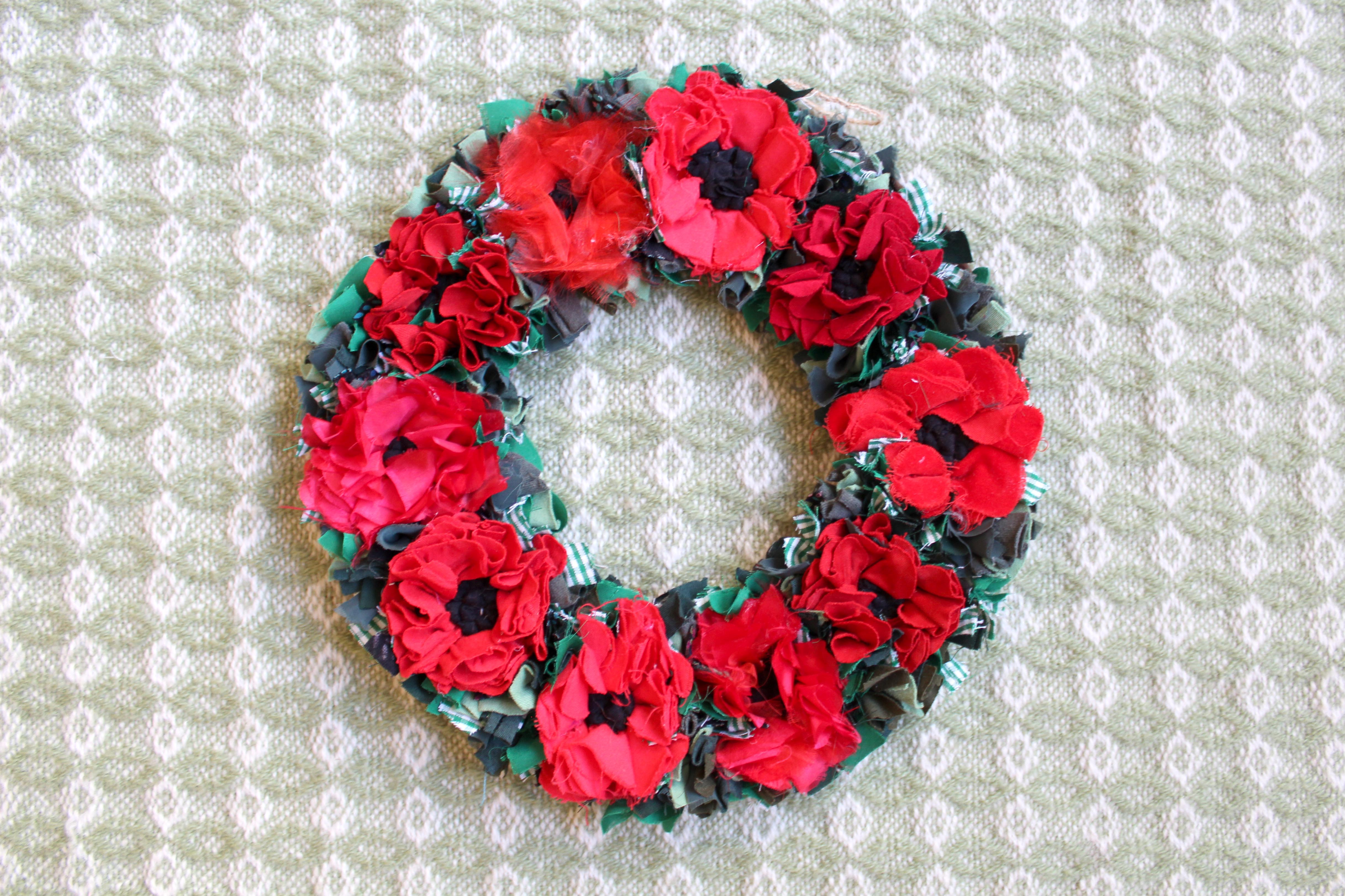 Rag rug poppy wreath made for the WWI centenary.
