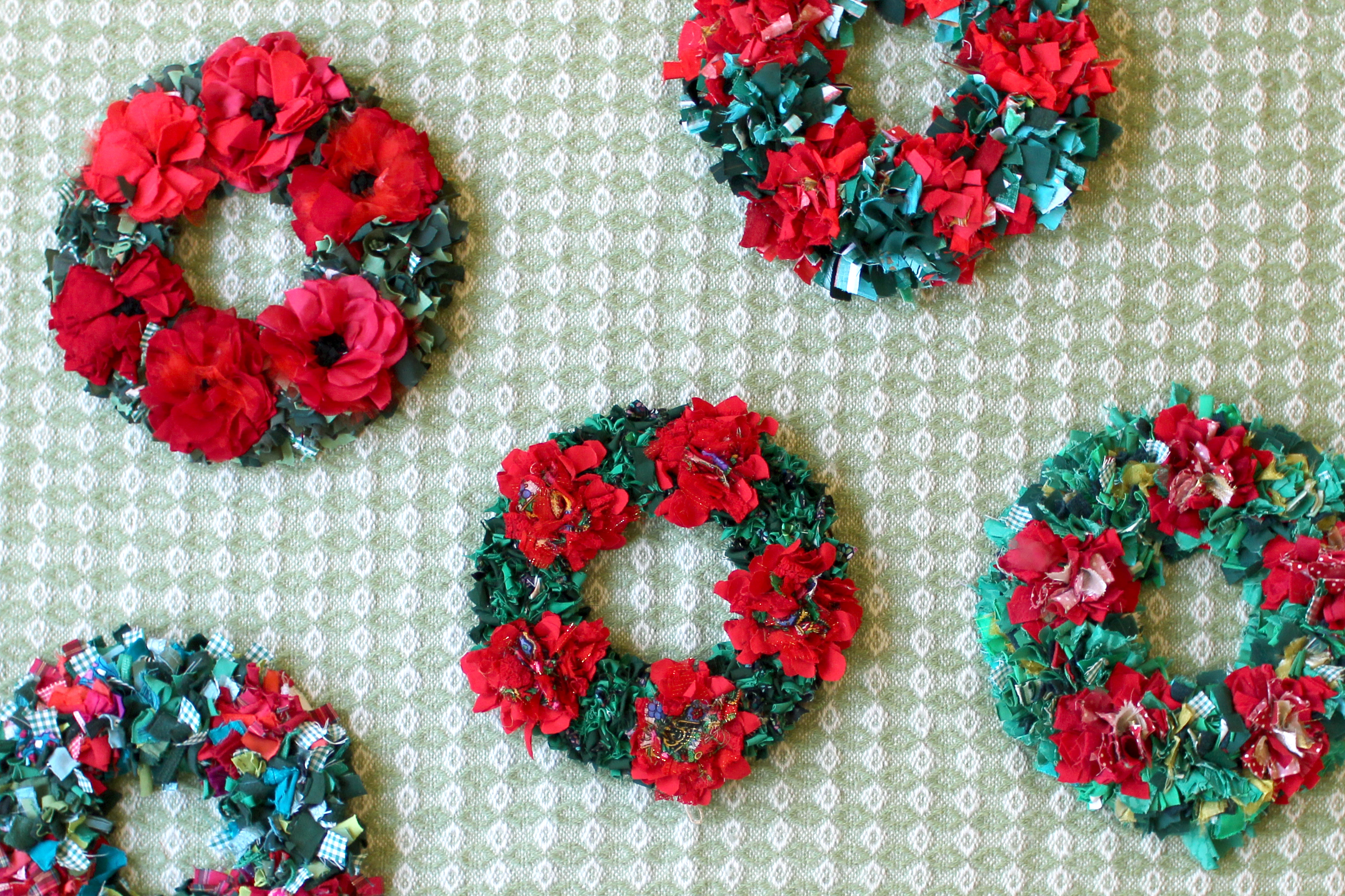 Ragged Life Rag Rug Wreaths made using recycled clothing and textile waste for Christmas