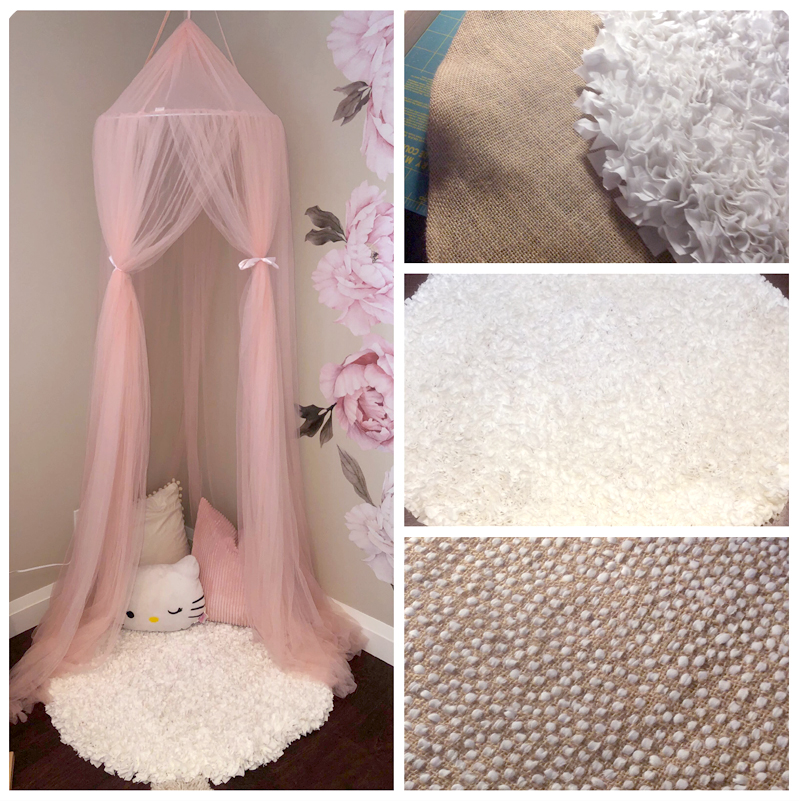 circular white rag rug in kids nursery