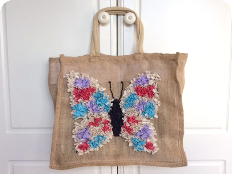 Rag Rug Butterfly Shopping Bag in the Shaggy Rag Rug Technique on Hessian