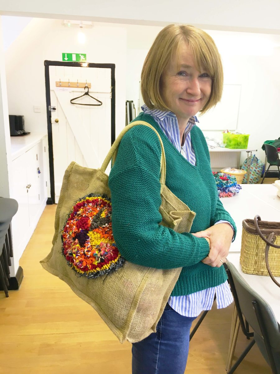 Rag Rug Hessian Shopping Bag Ragged Life Workshop