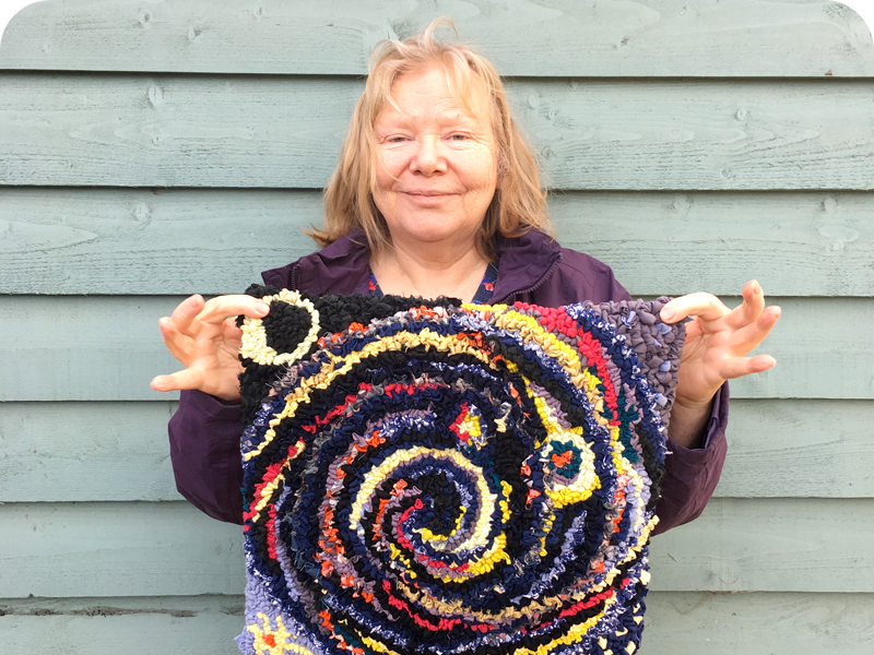 Christina's Loopy rag rug cushion