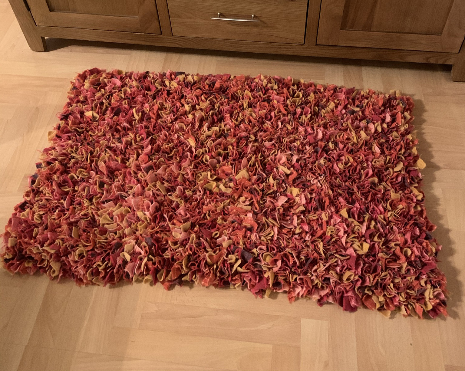 Autumn orange red and brown rag rug