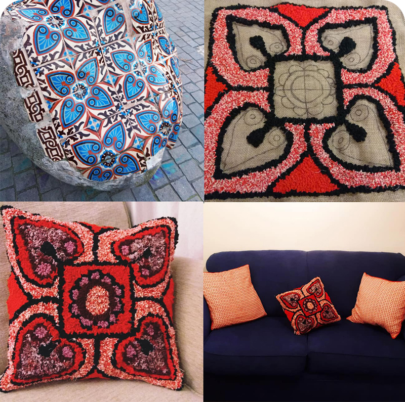 Red and orange Portuguese tile DIY no sew rag rug cushion made using old clothing