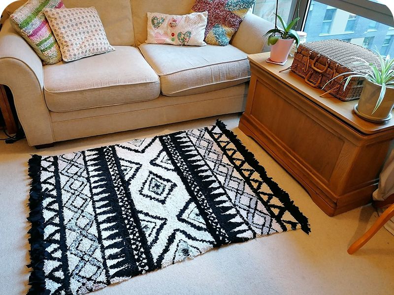 Black and white Aztec rag rug