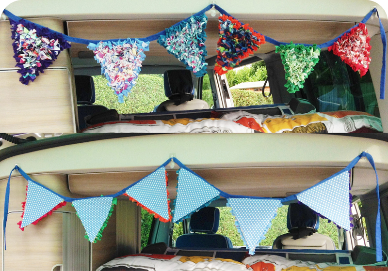 Multicoloured Shaggy rag rug bunting in campervan