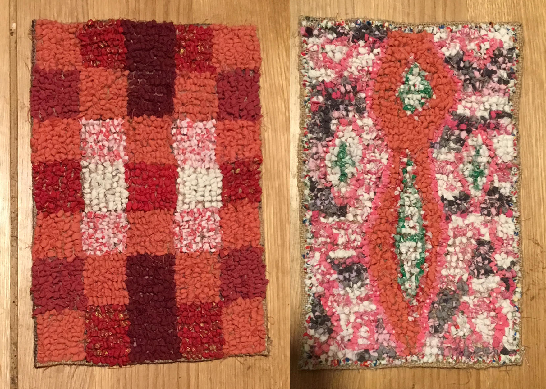 Rag rug placemats in loopy rag rugging in oranges, reds and pink materials.
