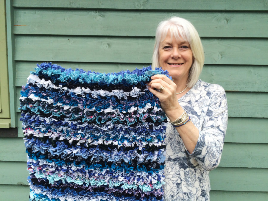 Blue striped shaggy rag rug designs