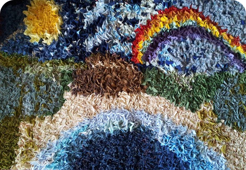 Julies pictorial landscape rag rug with rainbow
