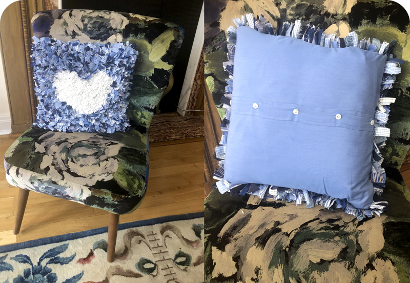 Blue and white short shaggy rag rug heart cushion made using old shirts