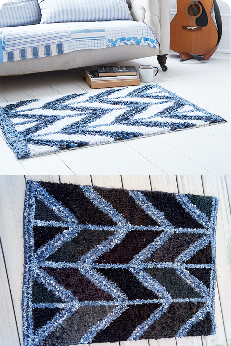Denim rag rug chevron design by Ragged Life