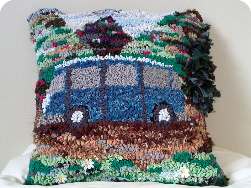 Campervan rag rug cushion made using old clothing