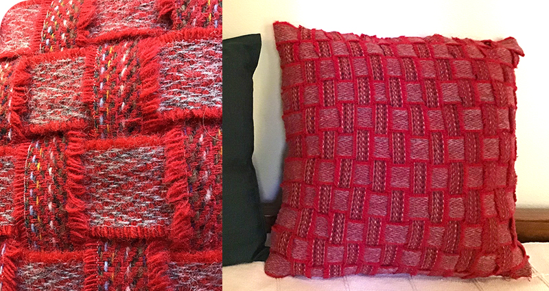 Ribbon weaving red cushion