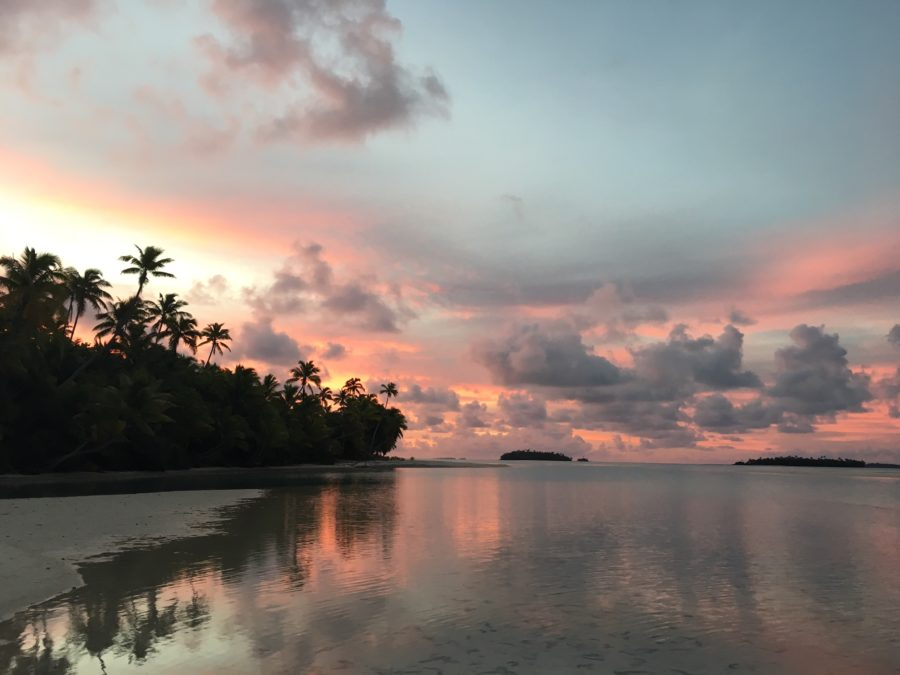 One Foot Island Cook Islands Sunset Palm Trees