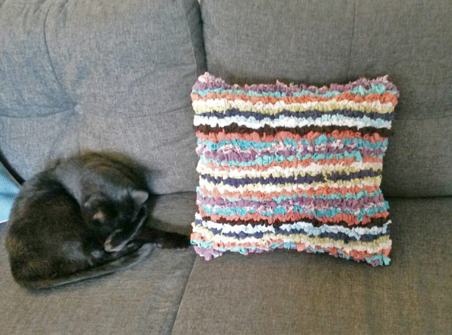 Stripey looped rag rug cushion cat