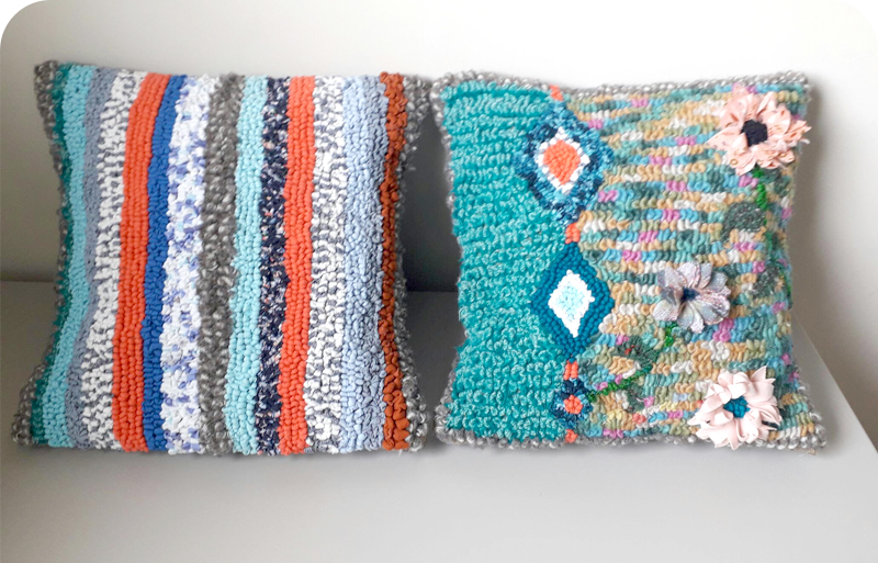 Bright and colourful rag rug cushions made using wool, cotton and t-shirt yarn with flowers and stripes