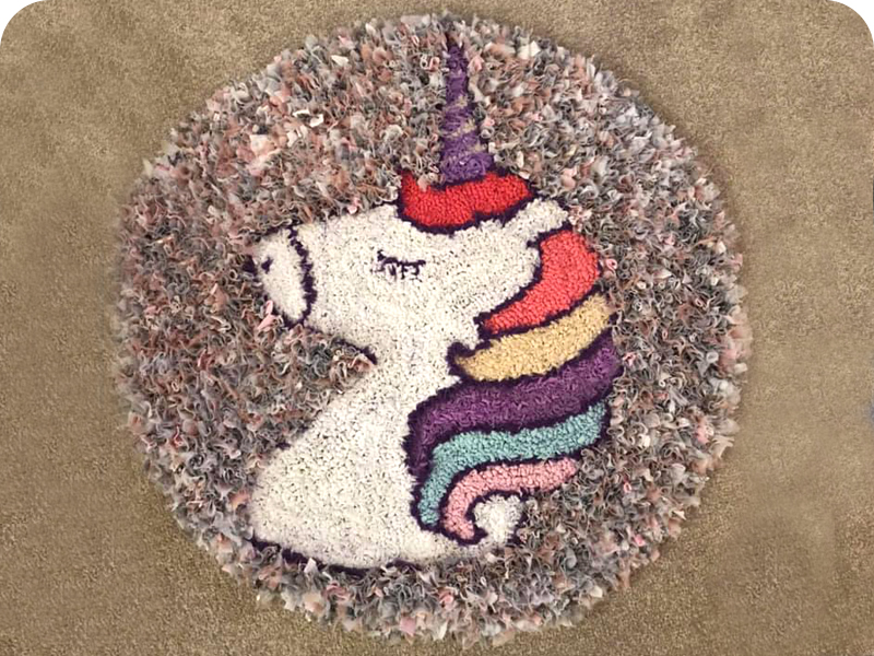 Unicorn Rag Rug made using recycled fabrics