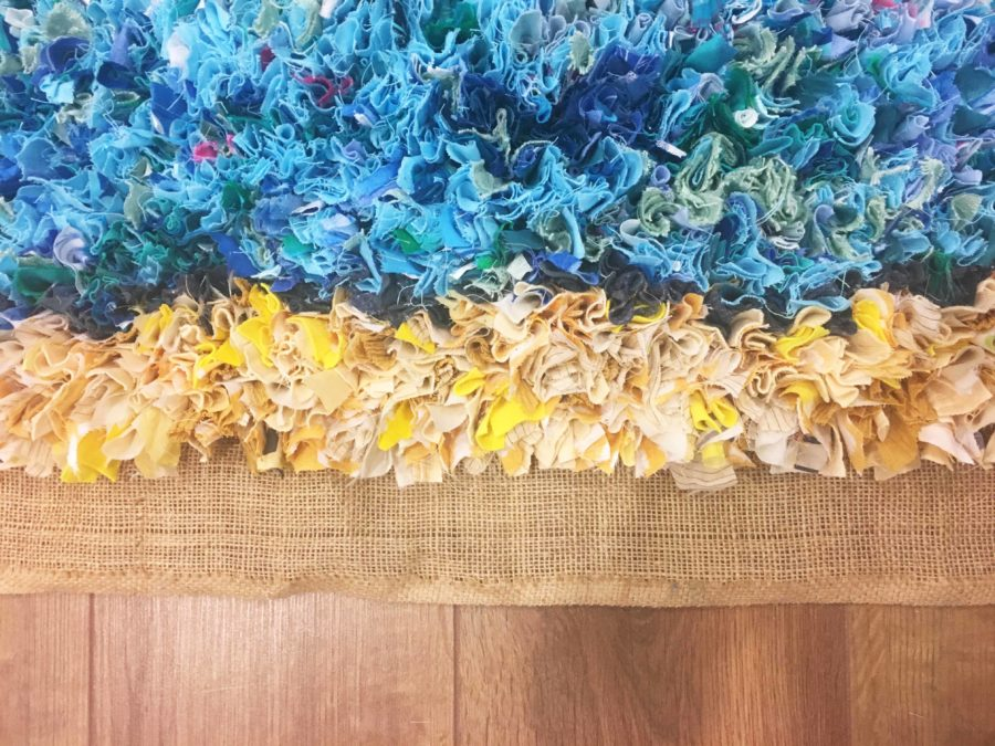 Rag Rug Ocean Beach Yellow Blue Proggy