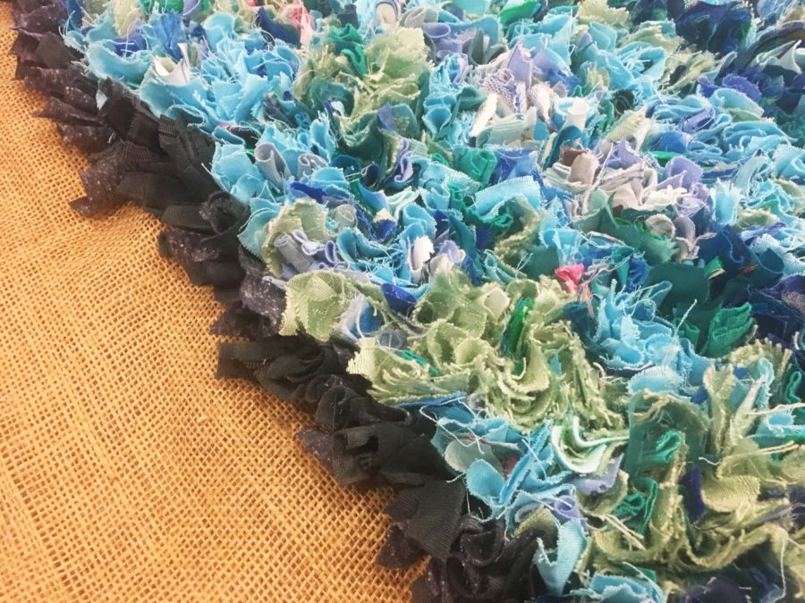 Edge of the Blue Rag Rug Sea