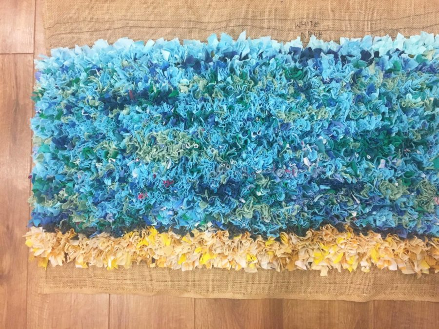 Rag Rug Blue Yellow Upcycled
