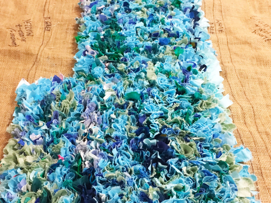 Blue Rag Rug Sea Close Up