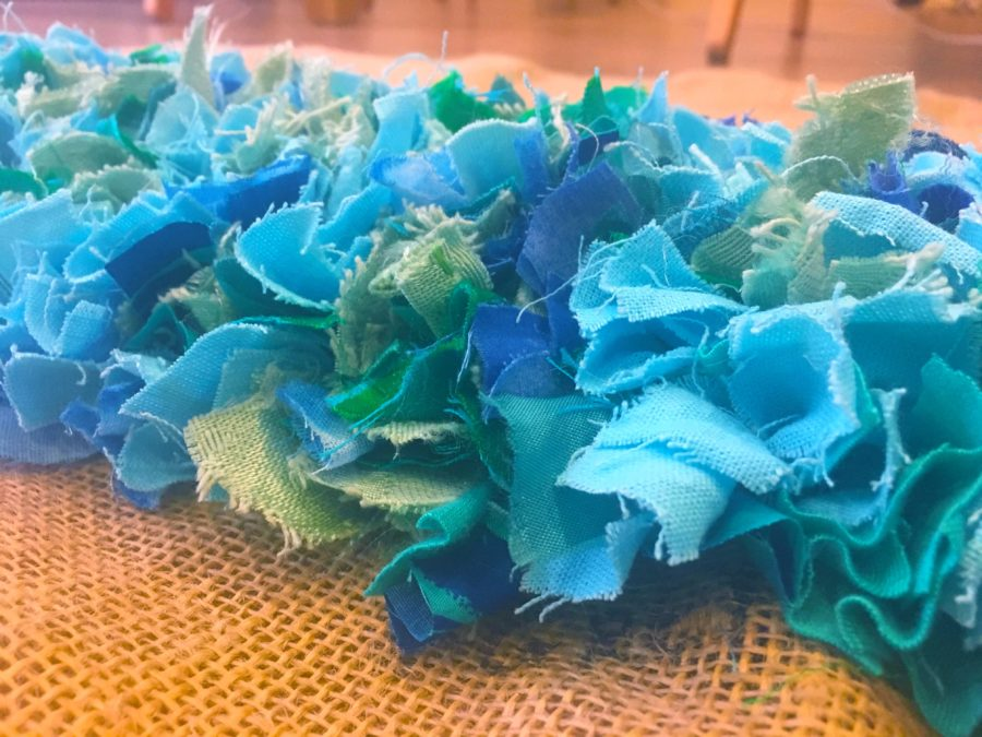 Blue Rag Rug Pieces