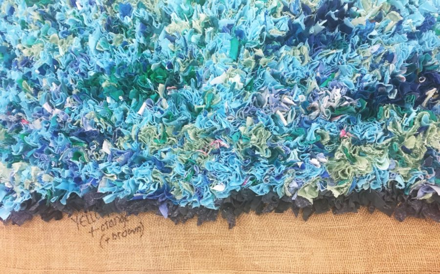 Edge of the Sea Blue Shaggy Rag Rug