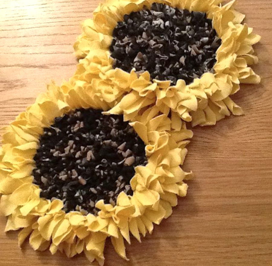 Rag Rug Sunflowers