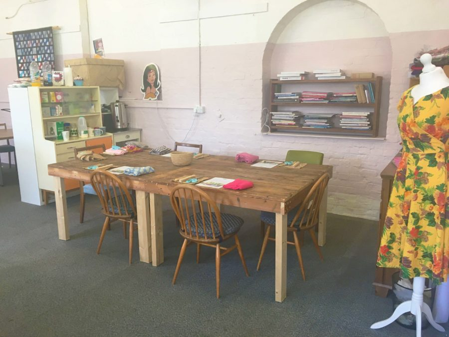 The room set up for a full day rag rug class in The Craft Space