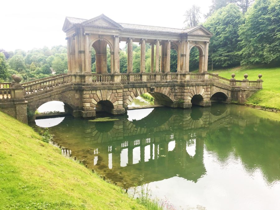 The Palladian Bridge over the river in Bath Prior Park