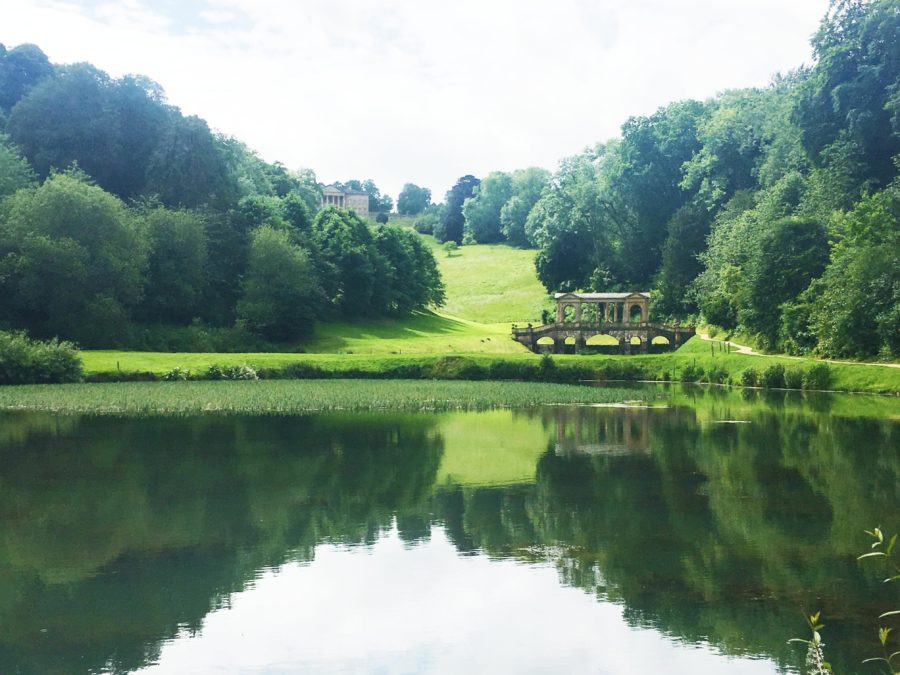 The view up the hill of the bridge over the lake in Prior Park