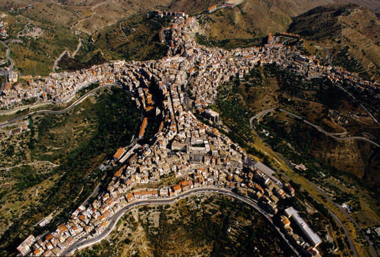 Aerial Photo of Centuripe in Sicily which looks like a person
