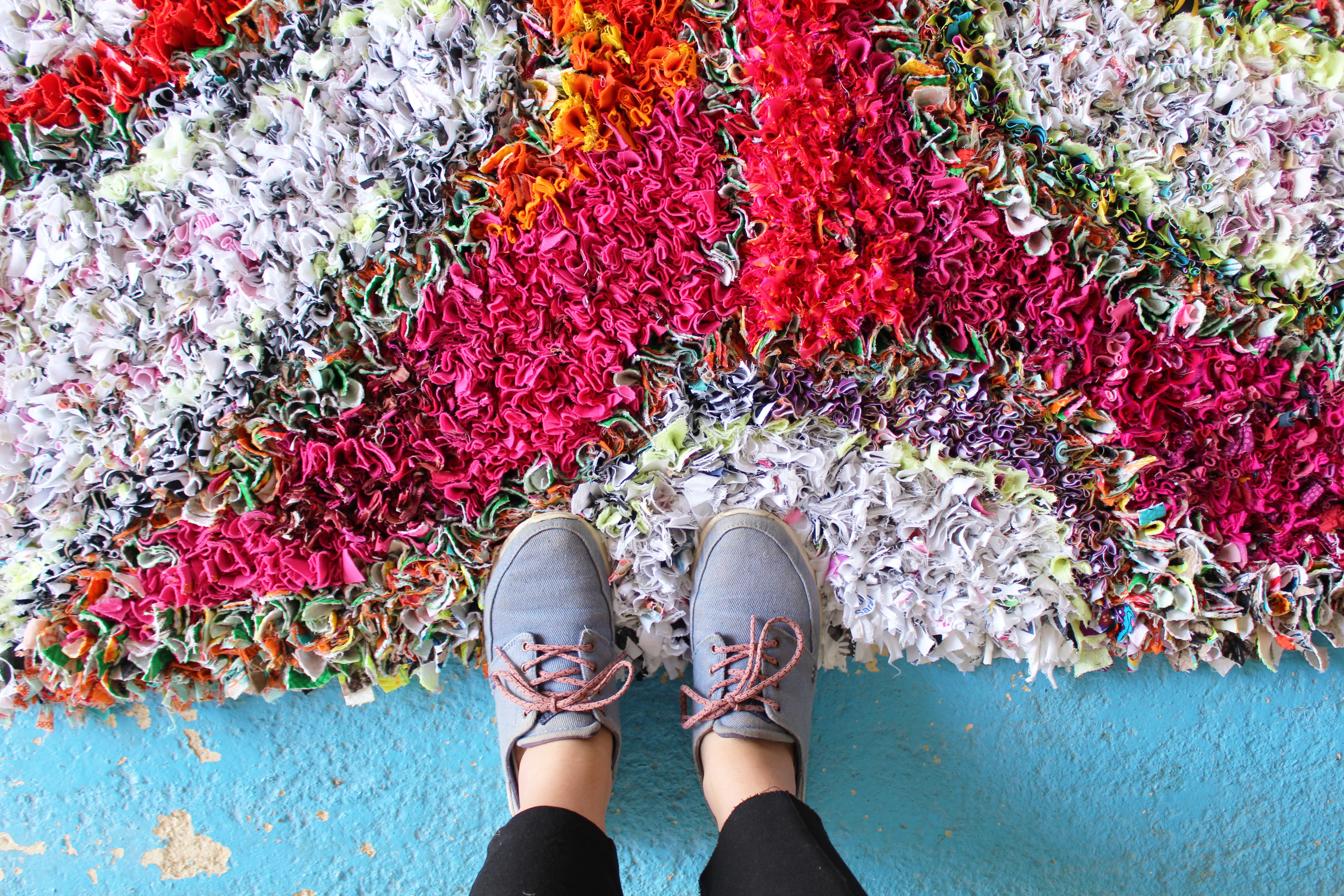 I have this thing with floors photos of a beautiful rag rug on a blue floor