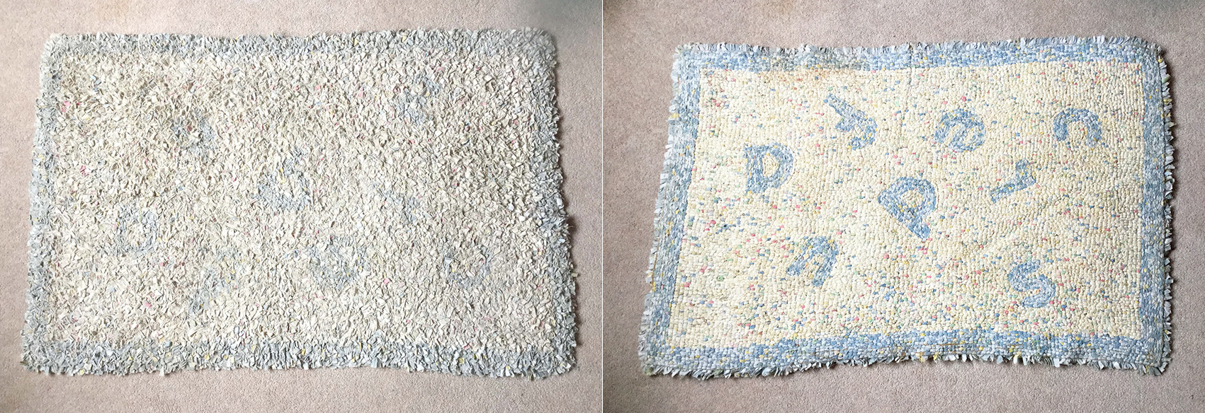 An old blue and white rag rug with letters on it