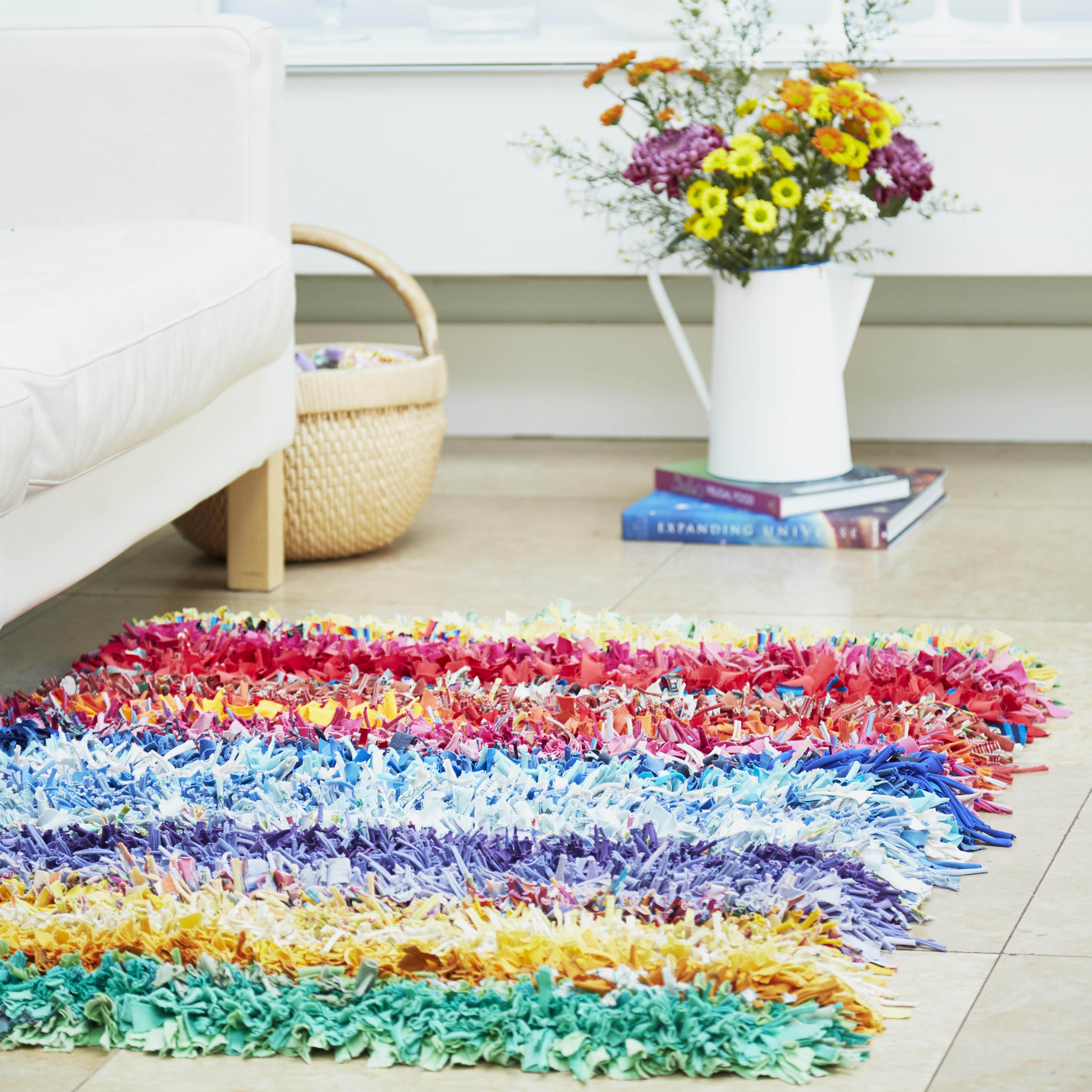 Ragged Life Rainbow Striped Rag Rug