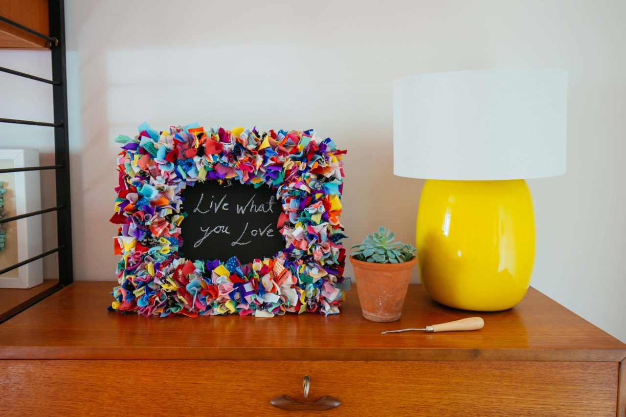 Ragged Life Multicoloured Rag Rug Chalkboard Frame