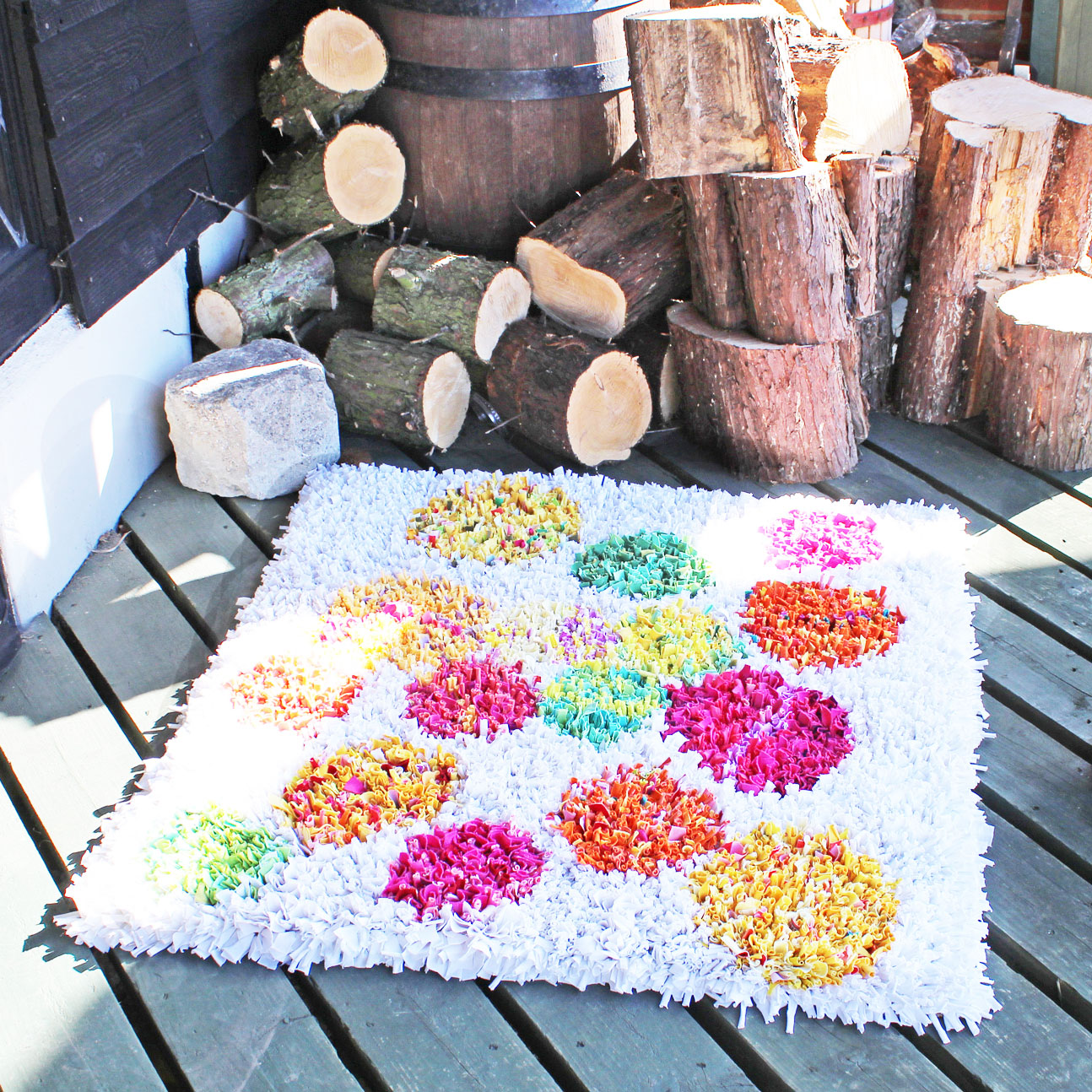 White Spotty Ragged Life Rag Rug with Pink Yellow Green and Orange Dots