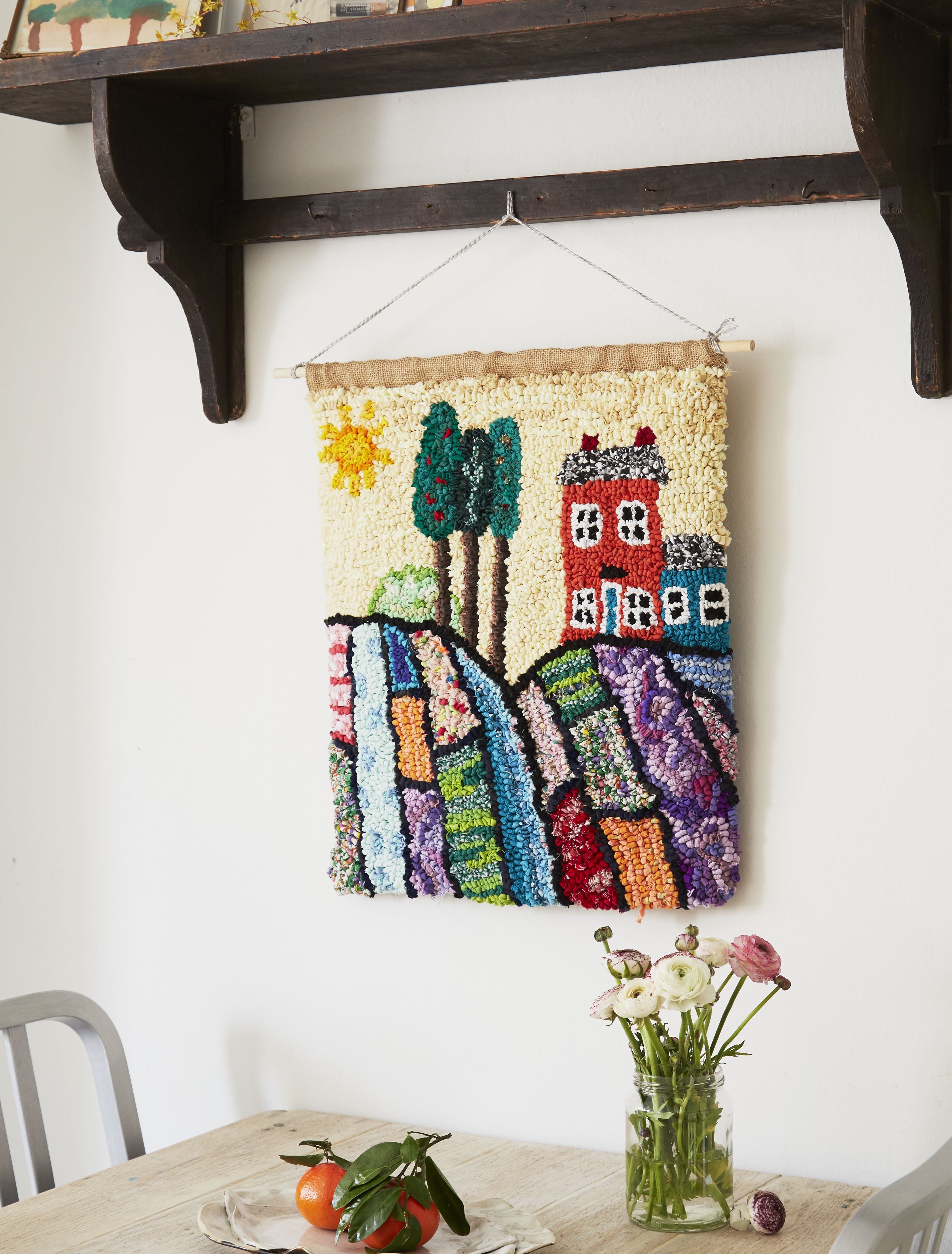 Folk Art Rag Rug Wall Hanging with Rolling Hills and Trees