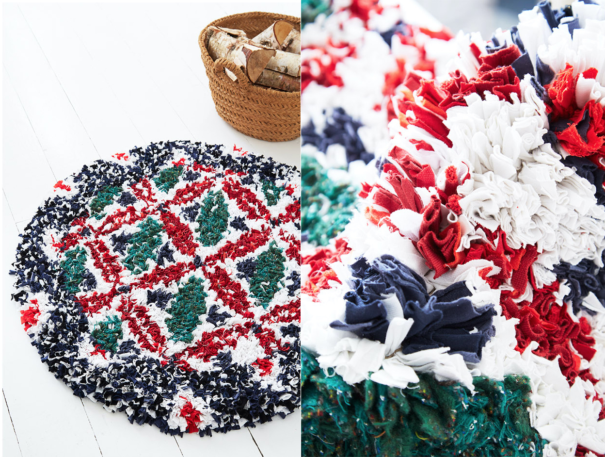 Red, Green and White Circular Shaggy Rag Rug Made with Old T-shirts