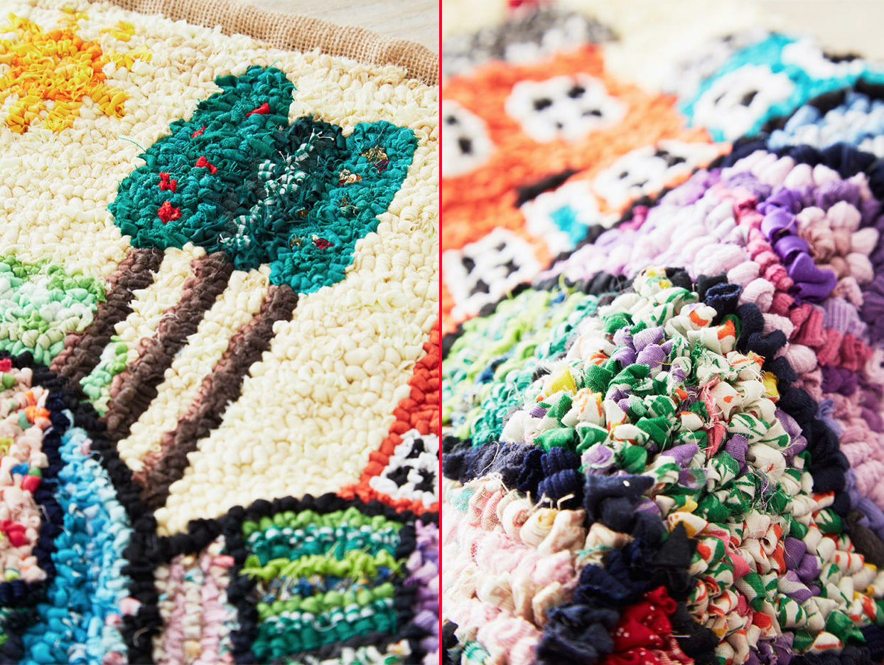 Rag Rug Wall Hanging Close up with trees and a house made during an advanced rag rug workshop