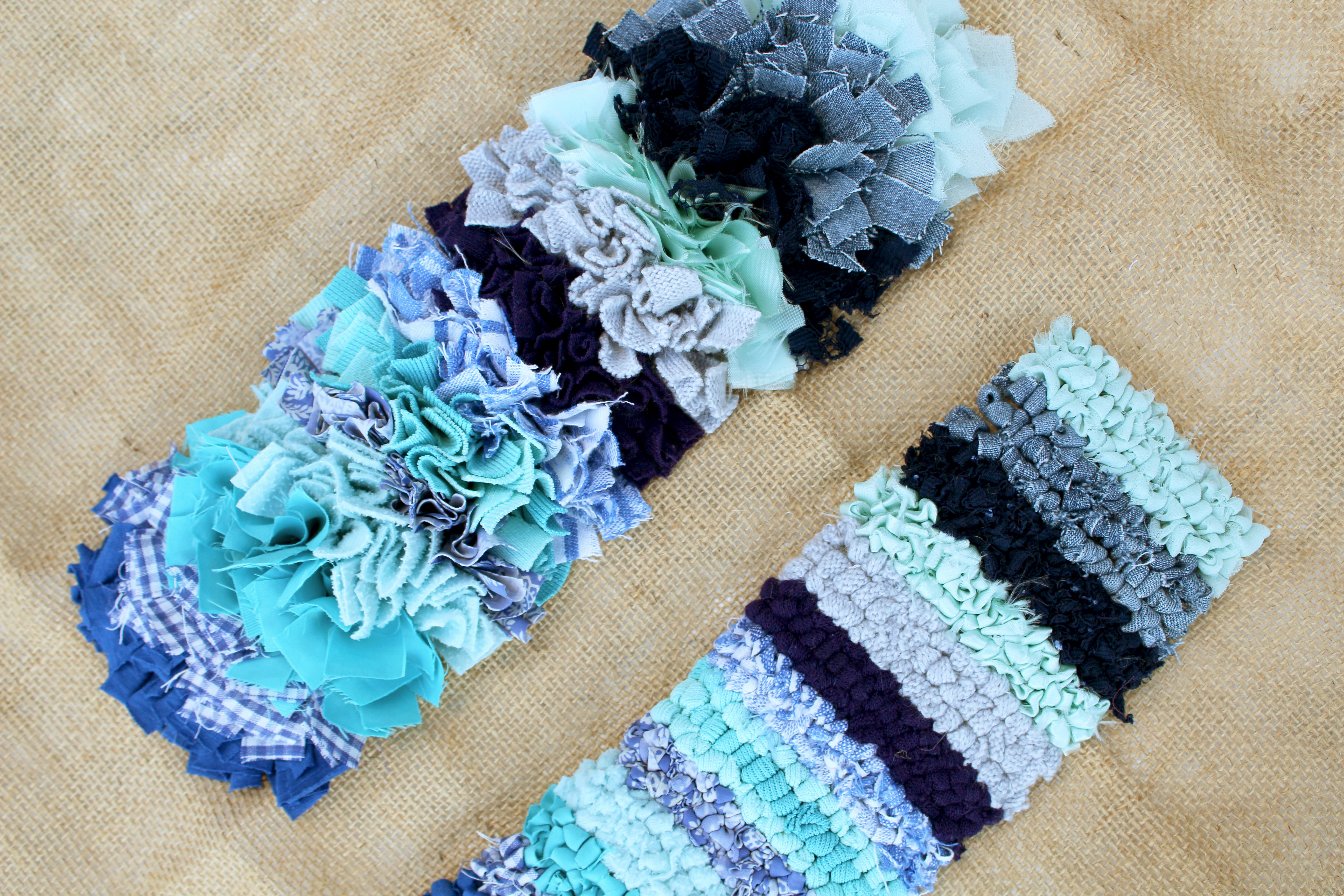 A range of different rag rug fabrics in the shaggy and loopy rag rugging techniques