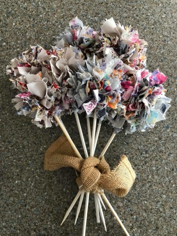 Rag Rug Flowers with Hessian Tie