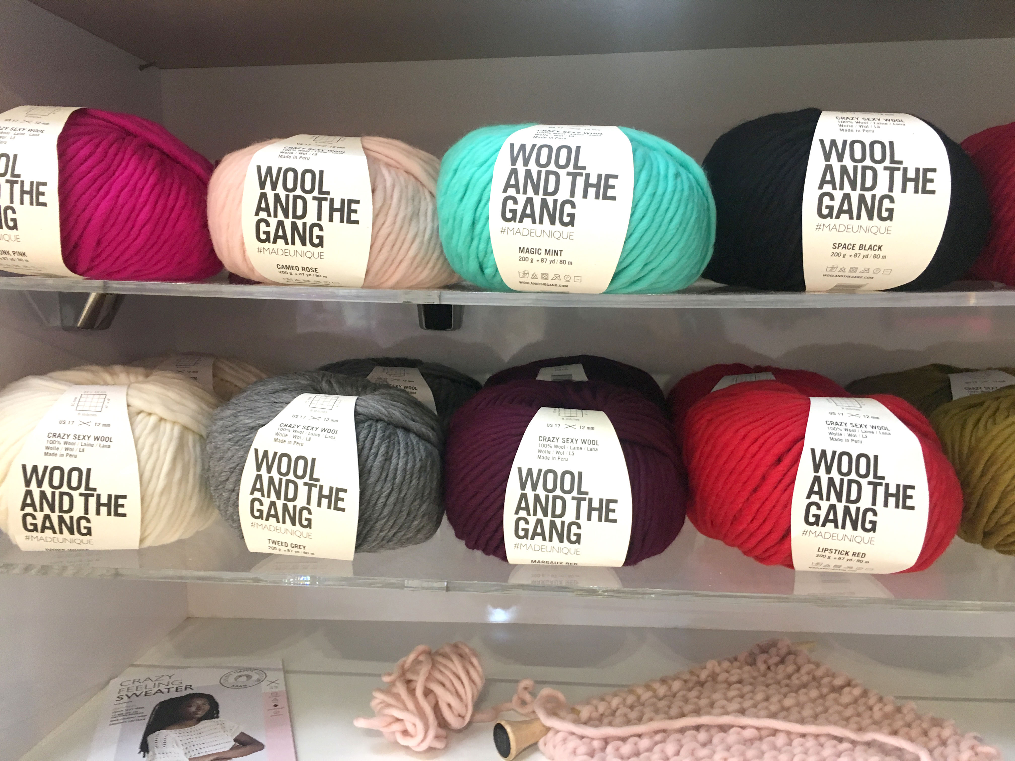 Wool and The Gang Wool on a shelf display