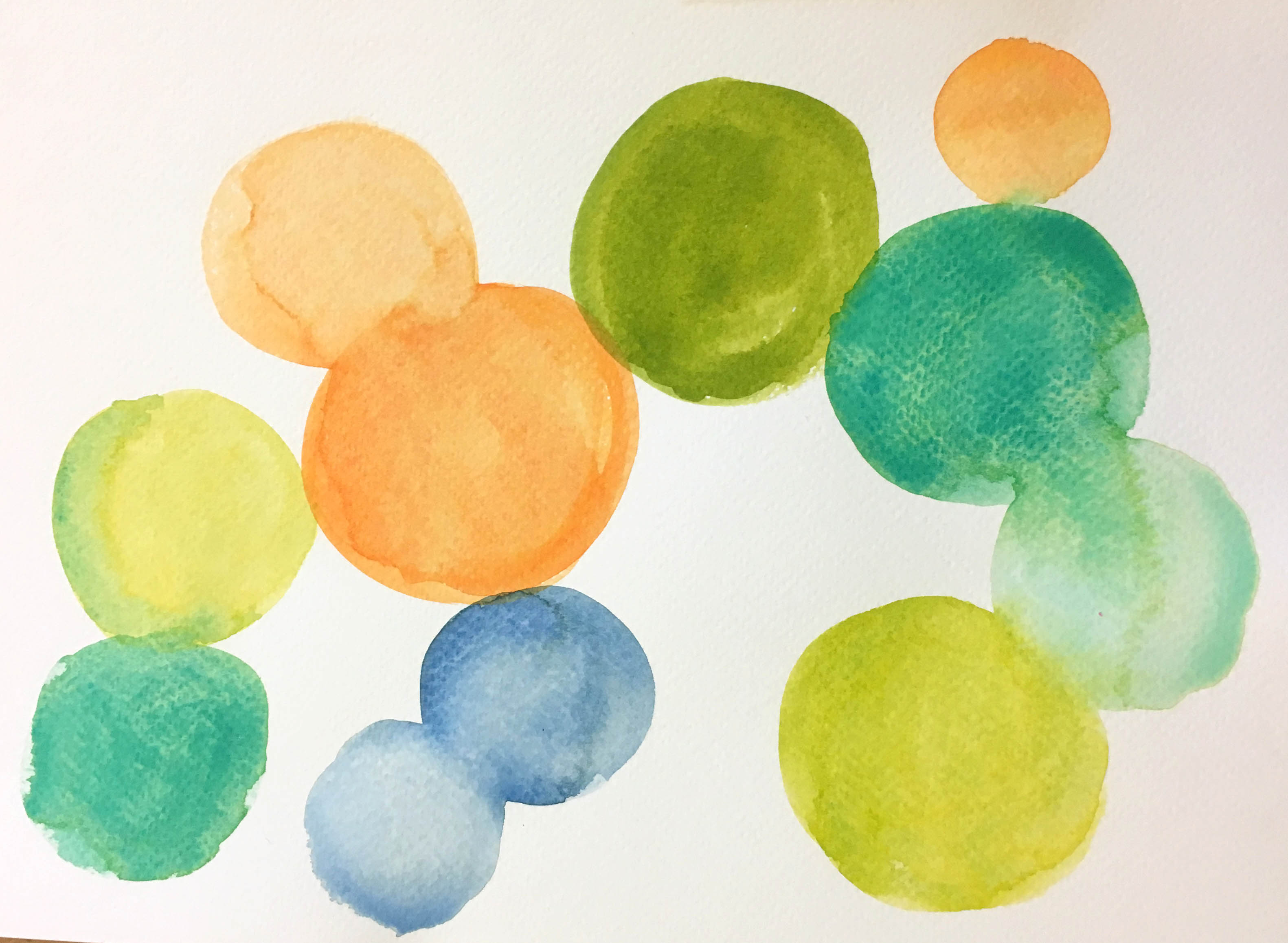 Green, orange, yellow and blue watercolour circles.