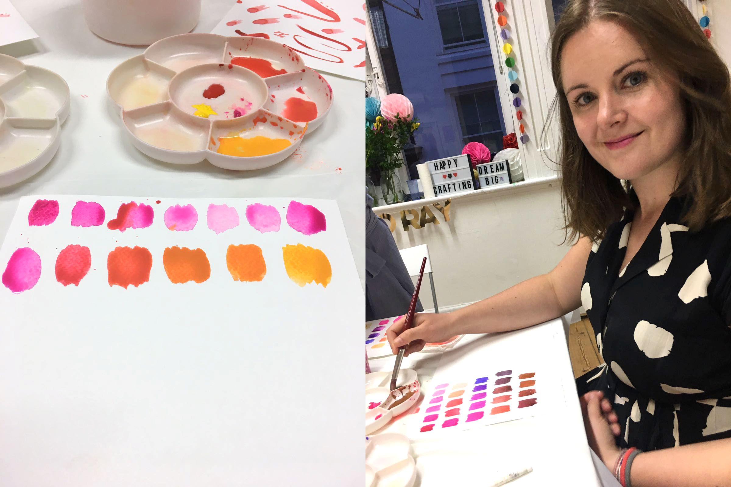 Watercolour workshop in London with watercolouring colour chart