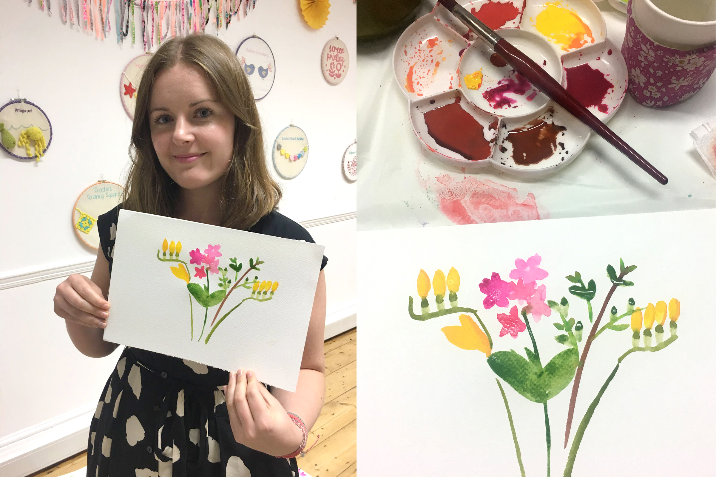 Beginners watercolour flowers including freesias, stocks and box hedge.